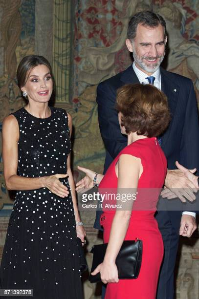 King Felipe VI of Spain and Queen Letizia of Spain attends a reception in their honor offered by Israeli President Reuven Rivlin at El Pardo Palace...