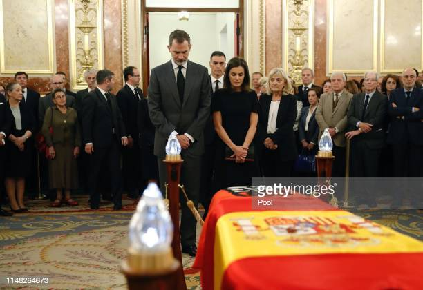 King Felipe VI of Spain and Queen Letizia of Spain attends Alfredo Perez Rubalcaba funeral chapel at the Spanish Parliament on May 10 2019 in Madrid...