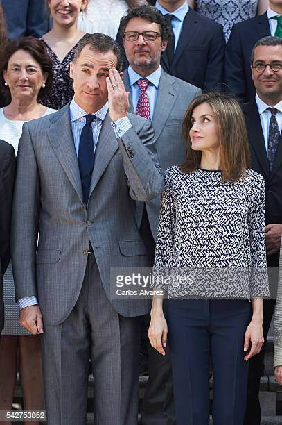 King Felipe VI of Spain and Queen Letizia of Spain attends several audiences at Zarzuela Palace on June 24 2016 in Madrid Spain