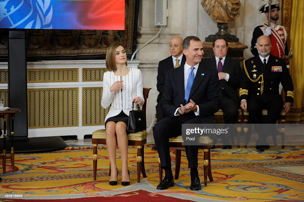 King Felipe VI of Spain and Queen Letizia of Spain attends the 70th Anniversary of United Nations ceremony at the Royal Palace on October 29, 2015 in Madrid, Spain.