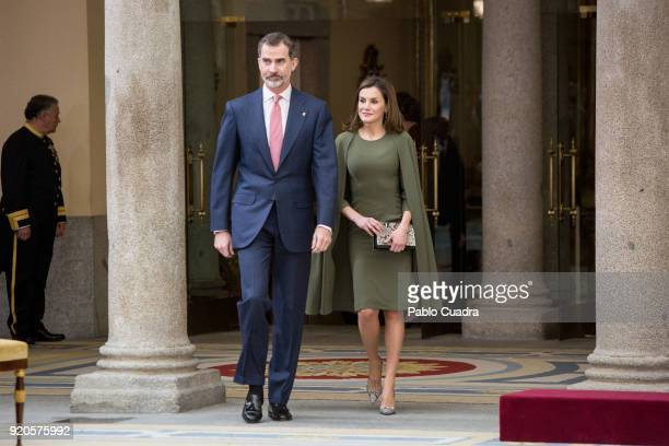 King Felipe VI of Spain and Queen Letizia of Spain attends the National Sports Awards ceremony at El Pardo Palace on February 19 2018 in Madrid Spain