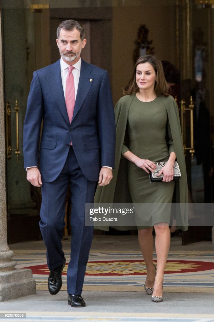 King Felipe VI of Spain and Queen Letizia of Spain attends the National Sports Awards ceremony at El Pardo Palace on February 19, 2018 in Madrid, Spain.