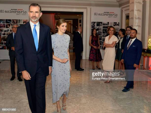 King Felipe VI of Spain and Queen Letizia of Spain Blanca Ulibarri Dolores Muriel and Marcial Rodriguez attend Europa Press news agency 60th...
