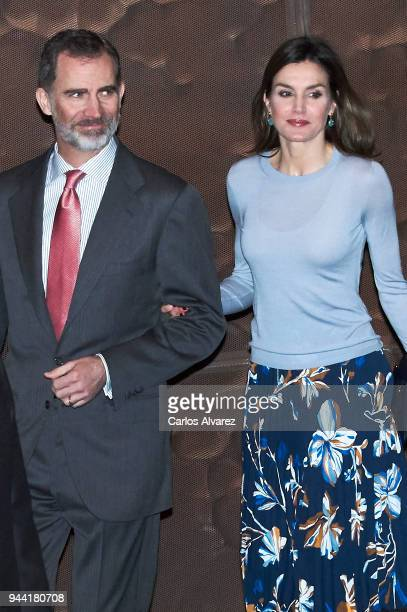 King Felipe VI of Spain and Queen Letizia of Spain deliver 'La Caixa' Scholarships at Caixa Forum cultural center on April 10 2018 in Madrid Spain