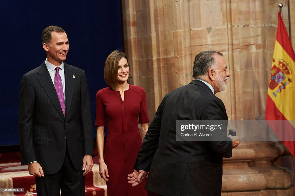 King Felipe VI of Spain (L) and Queen Letizia of Spain (C) deliver the Princess of Asturias award medal to USA Director Francis Ford Coppola (R) during the 2015 Princess of Asturias Award 2015 day 2 at the Reconquista Hotel on October 23, 2015 in Oviedo, Spain.