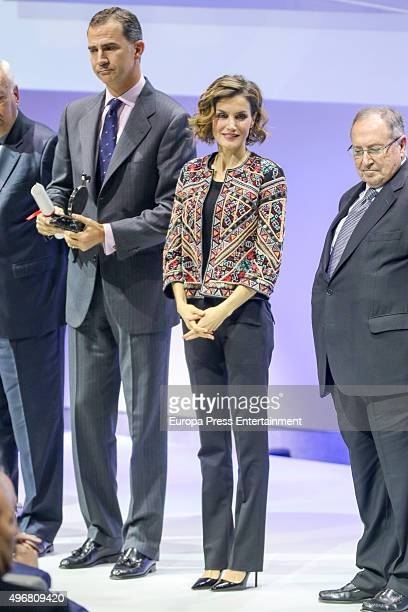 King Felipe VI of Spain and Queen Letizia of Spain deliver VI Acreditations for Honorary Ambassadors of the Spanish Brand at Ciudad BBVA on November...