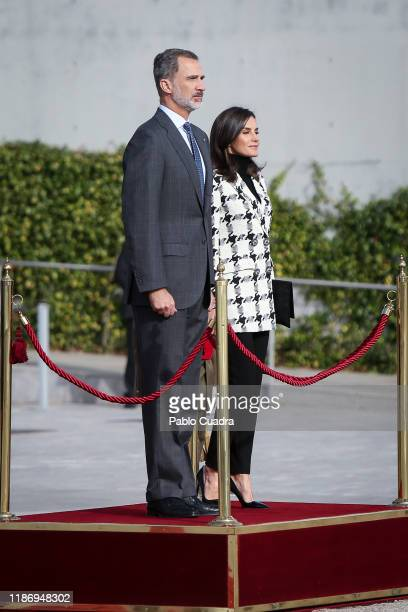 King Felipe VI of Spain and Queen Letizia of Spain depart for an official visit to Cuba at the Barajas Airport on November 11, 2019 in Madrid, Spain.