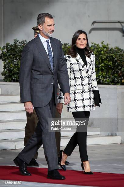King Felipe VI of Spain and Queen Letizia of Spain depart for an official visit to Cuba at the Barajas Airport on November 11 2019 in Madrid Spain