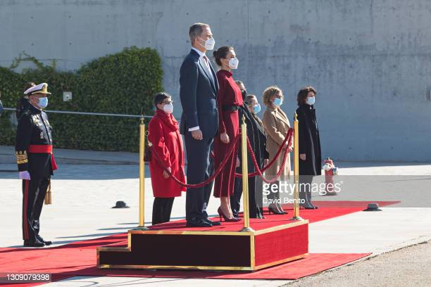 King Felipe VI of Spain and Queen Letizia of Spain depart for an official visit to Andorra at Adolfo Suarez Madrid-Barajas Airport on March 25, 2021...