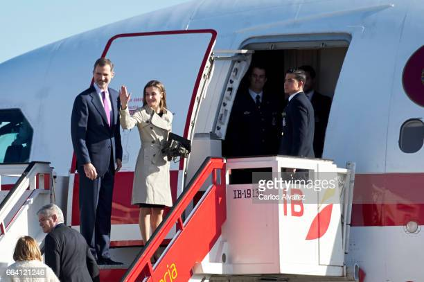 King Felipe VI of Spain and Queen Letizia of Spain depart for an official visit to Japan at the Barajas Airport on April 3 2017 in Madrid Spain