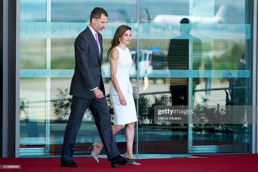 King Felipe VI of Spain and Queen Letizia of Spain depart for an official visit to United Kingdom at the Barajas Airport on July 11, 2017 in Madrid, Spain.