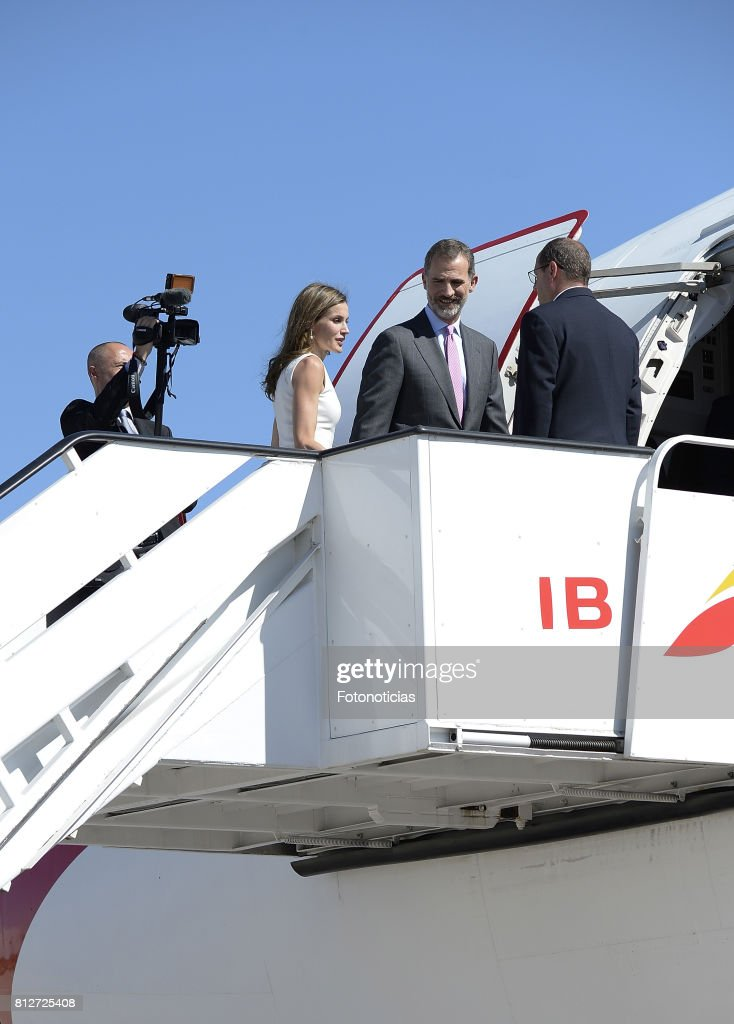 King Felipe VI of Spain (C) and Queen Letizia of Spain (L) depart from Barajas Airport for an official visit to United Kingdom on July 11, 2017 in Madrid, Spain.