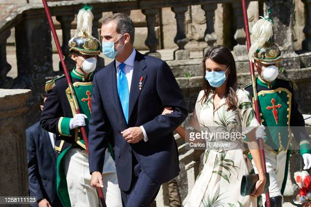 King Felipe VI of Spain and Queen Letizia of Spain depart from the church of San Martin Pinairo on July 25, 2020 in Santiago de Compostela, Spain....