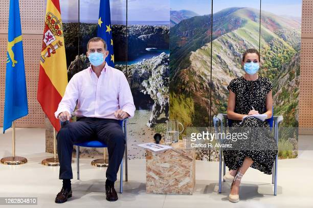 King Felipe VI of Spain and Queen Letizia of Spain during a visit to Cogersa Waste Treatment on July 30, 2020 in Gijon, Spain. This trip marks the...