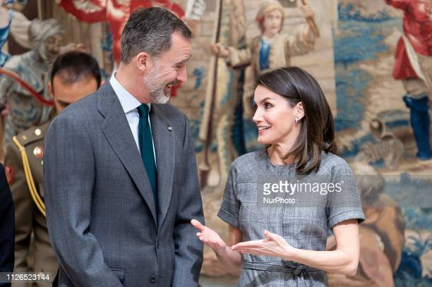 King Felipe VI of Spain and Queen Letizia of Spain during the delivery of the national research awards 2018 at El Pardo Palace in Madrid Spain 21...
