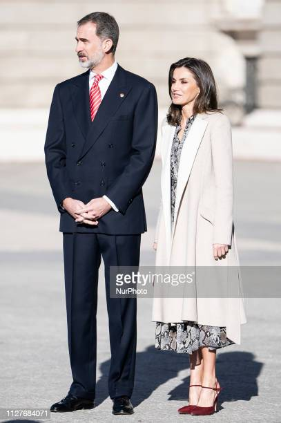 King Felipe VI of Spain and Queen Letizia of Spain during the state visit of President of Peru Martin Vizcarra and his wife Maribel Diaz in Madrid...