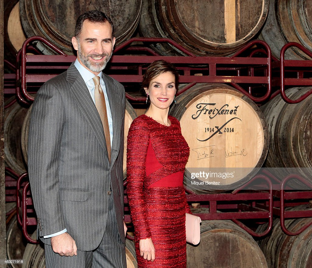 King Felipe VI of Spain and Queen Letizia of Spain during their visit to Freixenet Cellars as a part of the event company's centenary celebration on February 12, 2015 in Sant Sadurni d'Anoia, Spain.