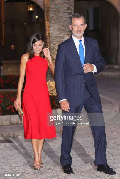 King Felipe VI of Spain and Queen Letizia of Spain host a dinner for authorities at the Almudaina Palace on August 07 2019 in Palma de Mallorca Spain