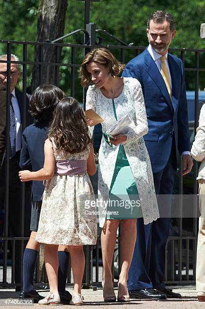King Felipe VI of Spain and Queen Letizia of Spain leave the Asuncion de Nuestra Senora Church after the First Communion of Princess Leonor of Spain...
