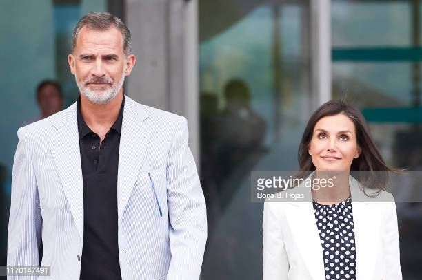 King Felipe VI of Spain and Queen Letizia of Spain leave the clinic on August 25, 2019 in Pozuelo de Alarcon, Spain.