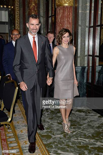 King Felipe VI of Spain and Queen Letizia of Spain leave the Closing of the Enterprise Forum by His Majesty the King Felipe VI of Spain and Her...