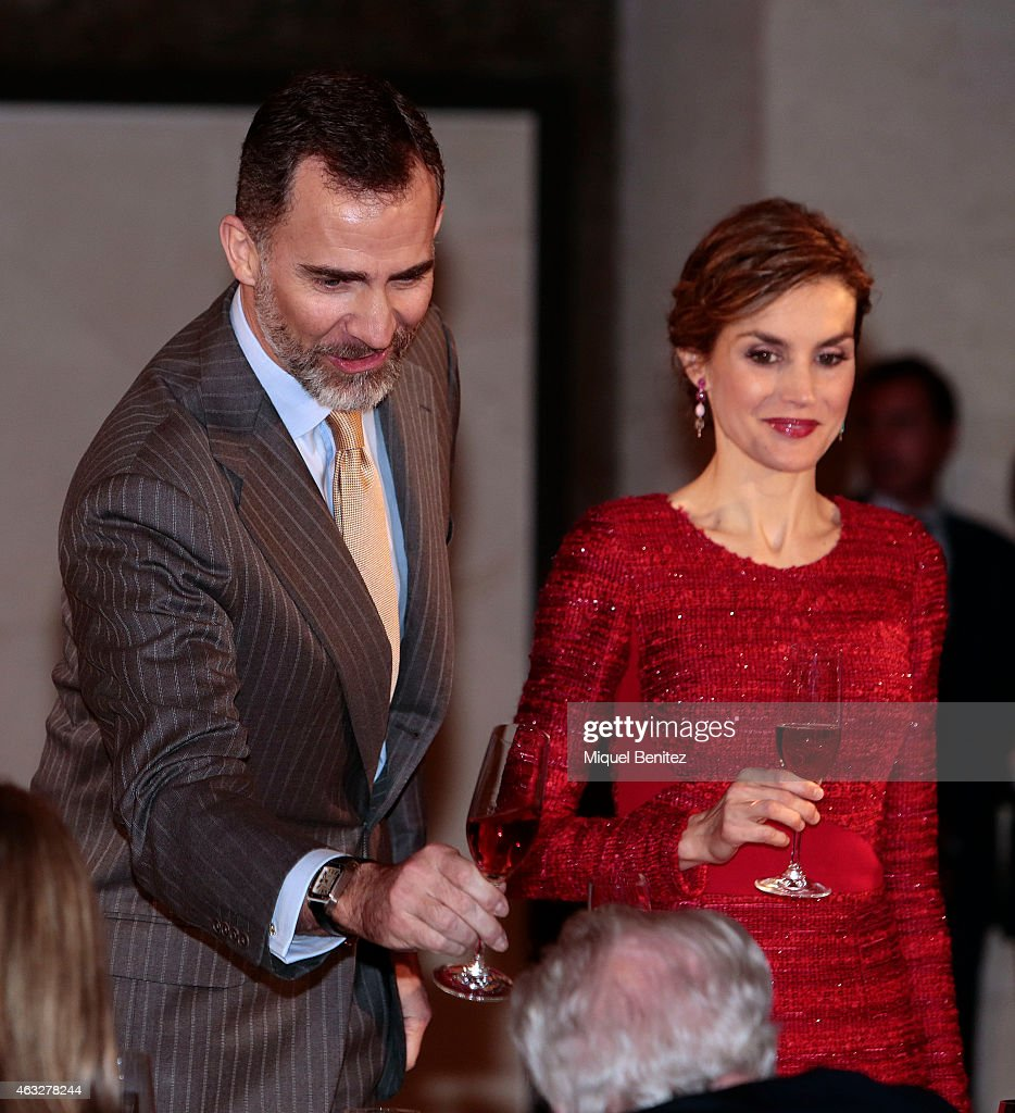 King Felipe Vi of Spain and Queen Letizia of Spain make a toast during their visit to Freixenet Cellars during the company's centenary celebration on February 12, 2015 in Sant Sadurni d'Anoia, Spain.