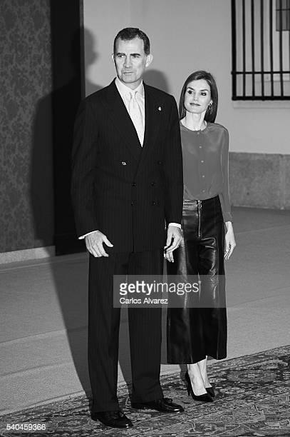 King Felipe VI of Spain and Queen Letizia of Spain meet Princess of Asturias Foundation members at El Pardo Palace on June 15, 2016 in Madrid, Spain.
