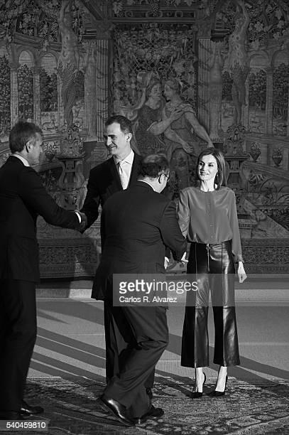 King Felipe VI of Spain and Queen Letizia of Spain meet Princess of Asturias Foundation members at El Pardo Palace on June 15 2016 in Madrid Spain