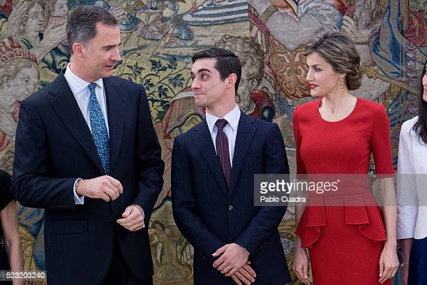 King Felipe VI of Spain and Queen Letizia of Spain meet Spanish figure skater Javier Fernandez at Zarzuela Palace on April 22 2016 in Madrid Spain