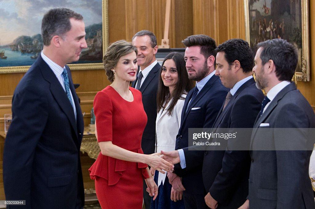 King Felipe VI of Spain (L) and Queen Letizia of Spain (2nd L) meet Spanish figure skater Javier Fernandez at Zarzuela Palace on April 22, 2016 in Madrid, Spain.
