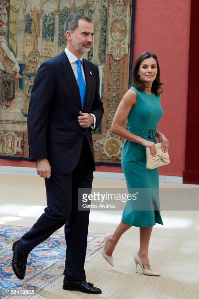 King Felipe VI of Spain and Queen Letizia of Spain meet with the members of the Boards of Trustees of the Princess of Asturias Foundation at the...