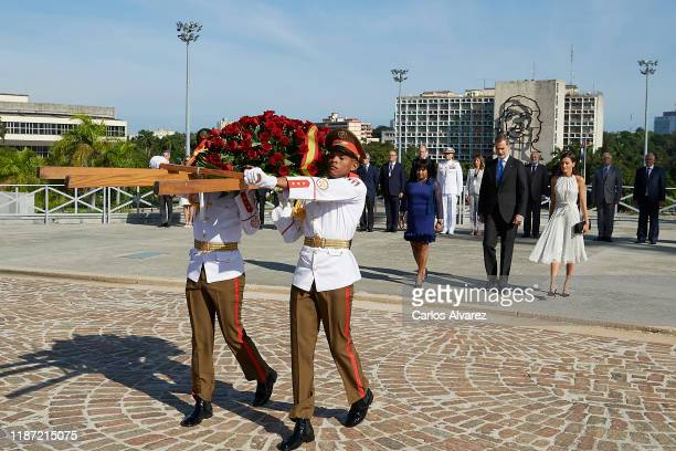 King Felipe VI of Spain and Queen Letizia of Spain offer flowers at the Jose Marti Memorial at Plaza de la Revolution on November 12, 2019 in La...