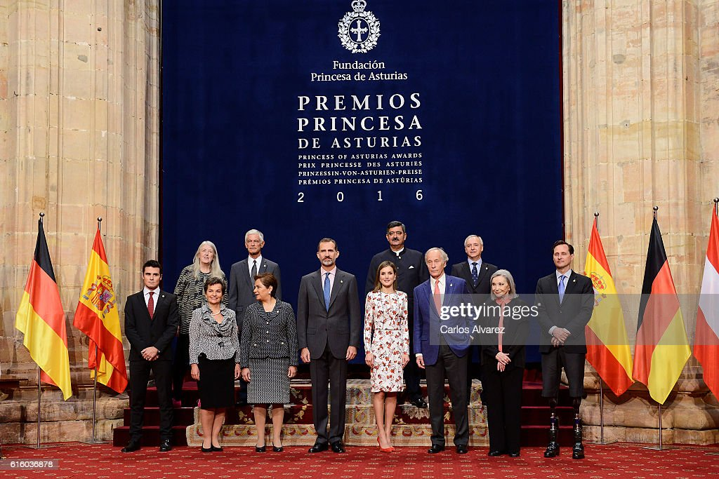 King Felipe VI of Spain (4L) and Queen Letizia of Spain (4R) pose for a picture with the 2016 Princess of Asturias Award laureates at the Reconquista Hotel during the Princesa de Asturias Awards 2016 day 2 on October 21, 2016 in Oviedo, Spain.