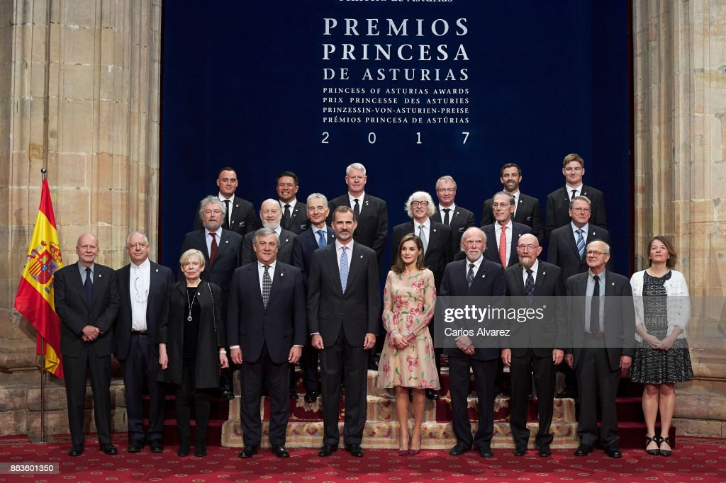 King Felipe VI of Spain (5L) and Queen Letizia of Spain (5R) pose for a picture with the 2017 Princess of Asturias Award laureates at the Reconquista Hotel during the Princesa de Asturias Awards 2017 on October 20, 2017 in Oviedo, Spain.