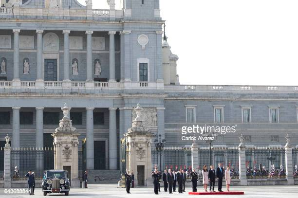 King Felipe VI of Spain and Queen Letizia of Spain receive Argentina's President Mauricio Macri and wife Juliana Awada at the Royal Palace on...