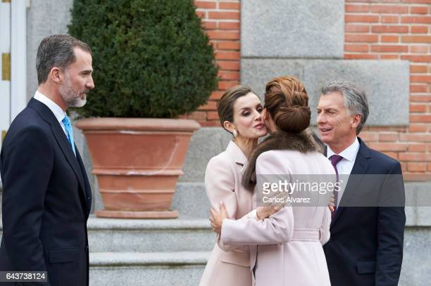 King Felipe VI of Spain and Queen Letizia of Spain receive Argentina's President Mauricio Macri and wife Juliana Awada for an official lunch at the...