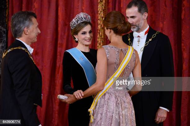 King Felipe VI of Spain and Queen Letizia of Spain receive Argentina's President Mauricio Macri and wife Juliana Awada for an Gala Dinner at the...