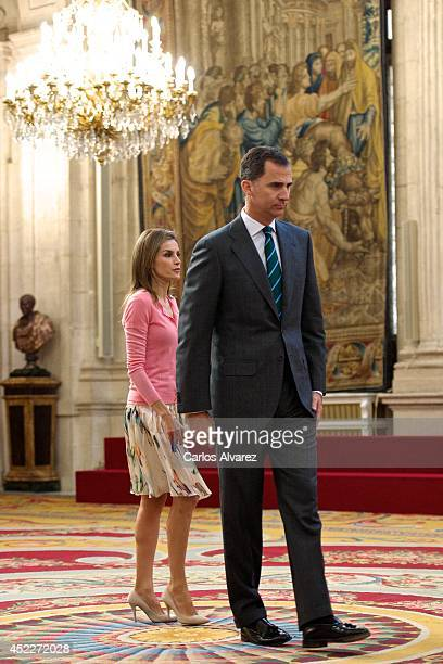 King Felipe VI of Spain and Queen Letizia of Spain receive 'Becas Europa' participants at The Royal Palace on July 17 2014 in Madrid Spain