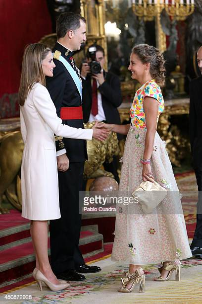King Felipe VI of Spain and Queen Letizia of Spain receive Carla Royo Villanova during reception at the Royal Palace after the King's official...