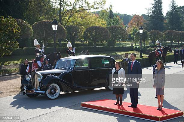 King Felipe VI of Spain and Queen Letizia of Spain receive Chilean President Michelle Bachelet at the El Pardo Palace on October 29 2014 in Madrid...
