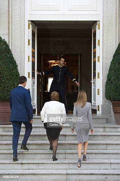King Felipe VI of Spain and Queen Letizia of Spain receive Chilean President Michelle Bachelet at the Zarzuela Palace on October 29 2014 in Madrid...