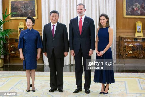 King Felipe VI of Spain and Queen Letizia of Spain receive Chinese president Xi Jinping and wife Peng Liyuan for an official dinner at the Zarzuela...