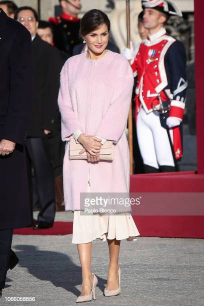 King Felipe VI of Spain and Queen Letizia of Spain receive Chinese President Xi Jinping and his wife Peng Liyuan at the Royal Palace on November 28,...