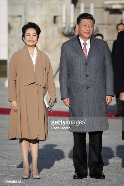 King Felipe VI of Spain and Queen Letizia of Spain receive Chinese President Xi Jinping and his wife Peng Liyuan at the Royal Palace on November 28...