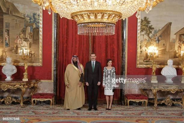 King Felipe VI of Spain and Queen Letizia of Spain receive Crown Prince Mohammad bin Salman bin Abdulaziz Al Saud of Saudi Arabia for an official...