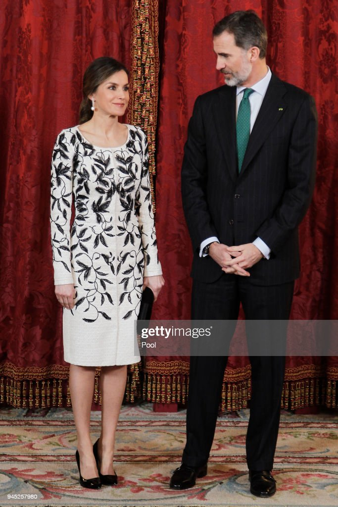 King Felipe VI of Spain and Queen Letizia of Spain receive Crown Prince Mohammad bin Salman bin Abdulaziz Al Saud of Saudi Arabia for an official lunch at the Royal Palace on April 12, 2018 in Madrid, Spain.