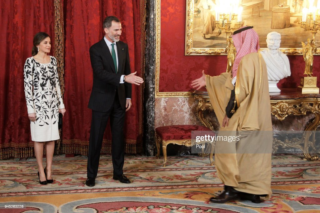 King Felipe VI of Spain (C) and Queen Letizia of Spain (L) receive Crown Prince Mohammad bin Salman bin Abdulaziz Al Saud of Saudi Arabia (R) for an official lunch at the Royal Palace on April 12, 2018 in Madrid, Spain.