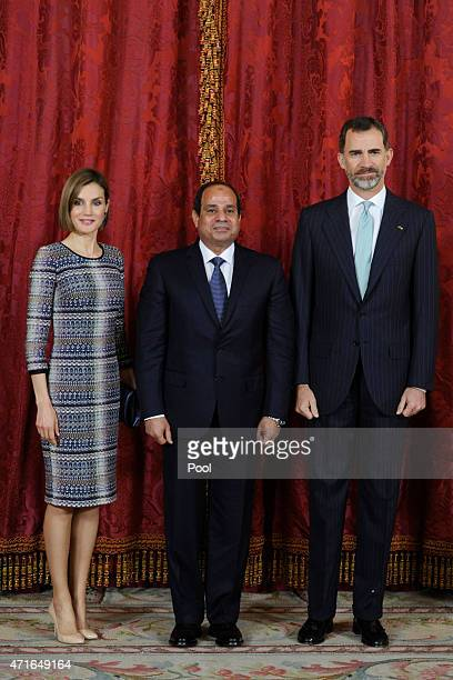 King Felipe VI of Spain and Queen Letizia of Spain receive Egyptian President Abdel Fattah alSisi at the Royal Palace on April 30 2015 in Madrid Spain