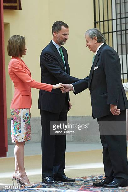King Felipe VI of Spain and Queen Letizia of Spain receive Fernando Falco during the Bicentenary of the Council of the Greatness of Spain at the El...