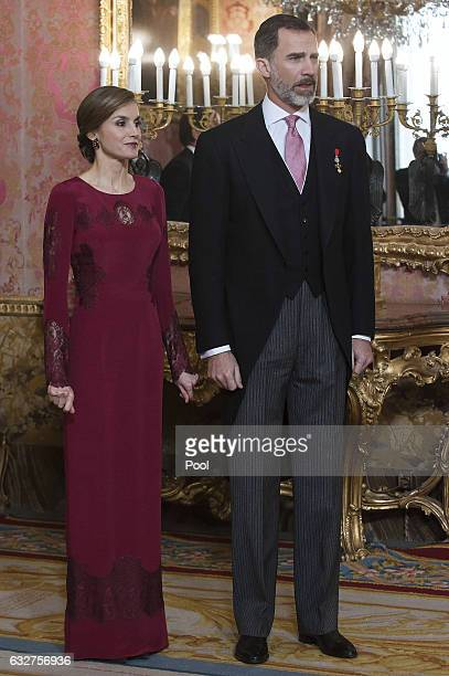 King Felipe VI of Spain and Queen Letizia of Spain receive foreign ambassadors at the Royal Palace on January 26 2017 in Madrid Spain